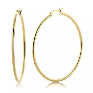 """NEW Gold Tone 2.75"""" Large Round Hoop Earrings"""